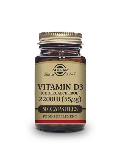 Solgar Vitamina D3 2200 UI (55µg) Colecalciferol 50 Cáps Vegetales
