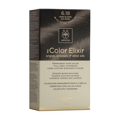 Apivita Tinte Rubio Oscuro Ceniza Perlado Color Elixir 6,18