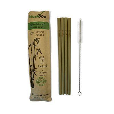 Brushboo 4 Pajitas de Bambú más Limpiador