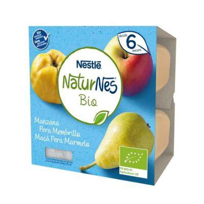 Nestlé Naturnes Bio Tarrina Manzana, Pera y Membrillo 4x90g