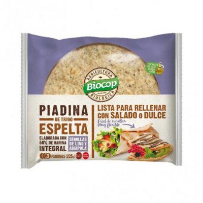 Biocop Piadina de Trigo Espelta Integral con Semillas de Lino y Amapola 225g