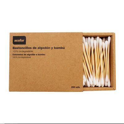 Acofarma Bastoncillos de Bambú y Algodón Biodegradables 200 uds.