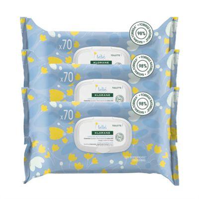 Klorane  Pack Toallitas 3 x 70 und