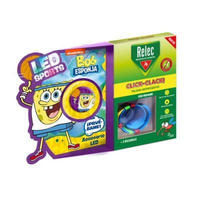 Relec Pulsera Antimosquitos Infantil Click Clack Bob Esponja + 2 Recargas