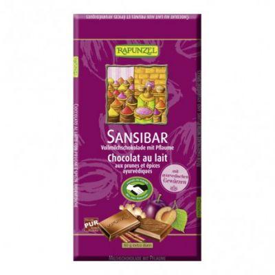 Rapunzel Tableta de Chocolate Zanzíbar con Ciruelas y Ayurvédico 80g